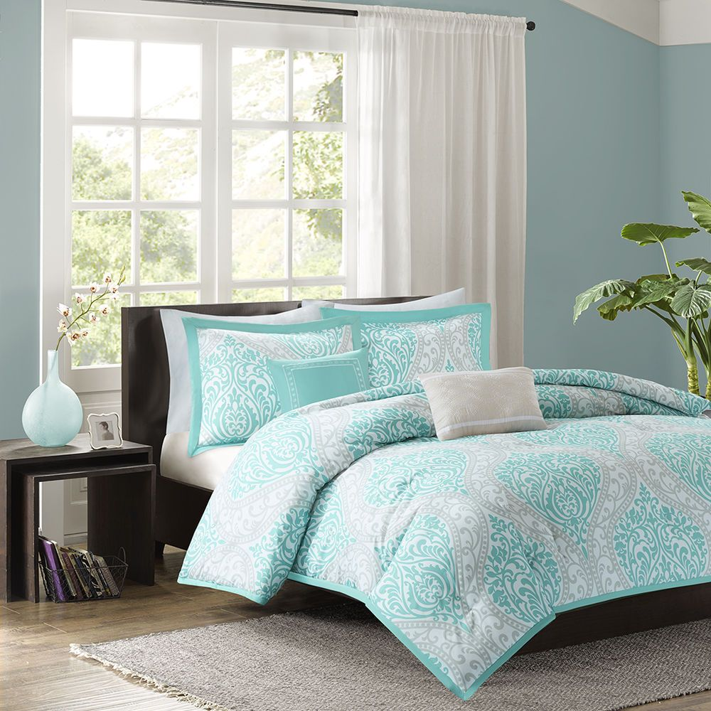 tiffany pom sheets blue comforter bag with set long x print and foxville a pillow sheet twin pin included velour aqua home reversible ruffled hashtag chevron in piece chic bed includes