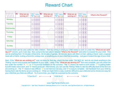 Free Printable Tiger Tamer Reward Chart For School Age Kids  Free Printable Reward Charts For Teachers