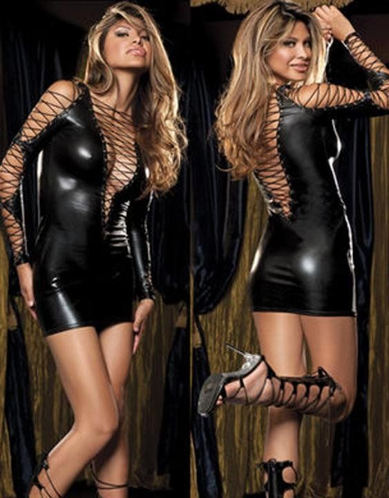 Free Shipping Deluxefetishdressblackfauxleathercriss Crosspvcsexy Leatherclubweardressw1116