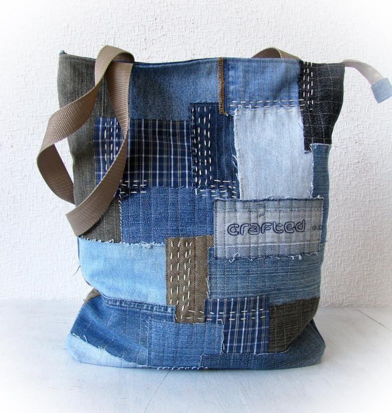 Vintage Quilt Denim Crossbody bag Teal OOAK