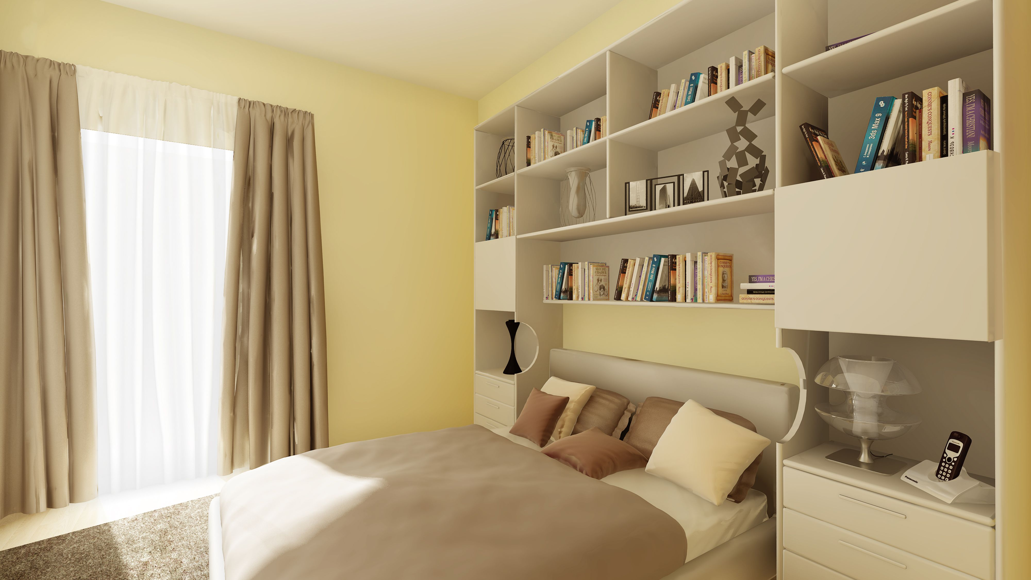 Il progetto di una libreria a ponte per la camera da letto con comodini incorporati nel mobile - Camera da letto a ponte matrimoniale ...