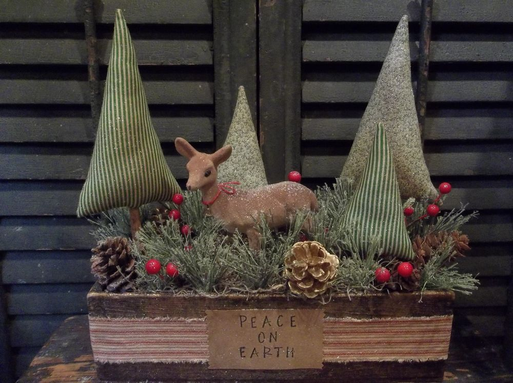 Prim Christmas/Holiday Decoration-Winter Trees & Vintage Deer in Old Cheese Box #PrimitiveChristmasHolidayDecoration