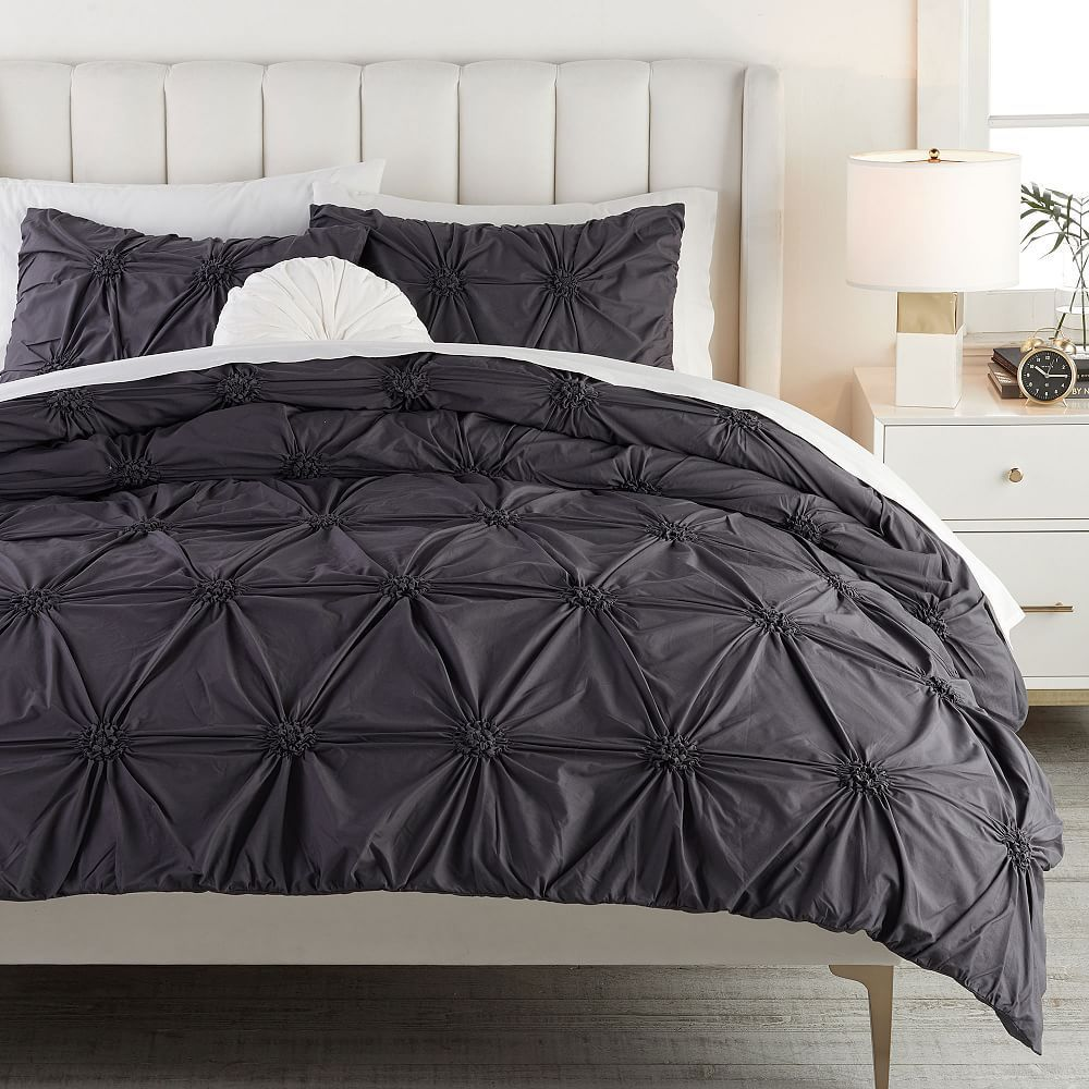 Ruched Rosette Organic Duvet Cover, Twin/Twin XL, Powdered