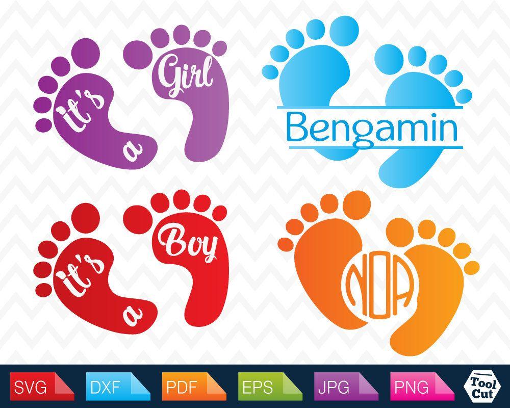 Baby Feet Monogram Frames Svg Nursery SVG Boy & Girl Round