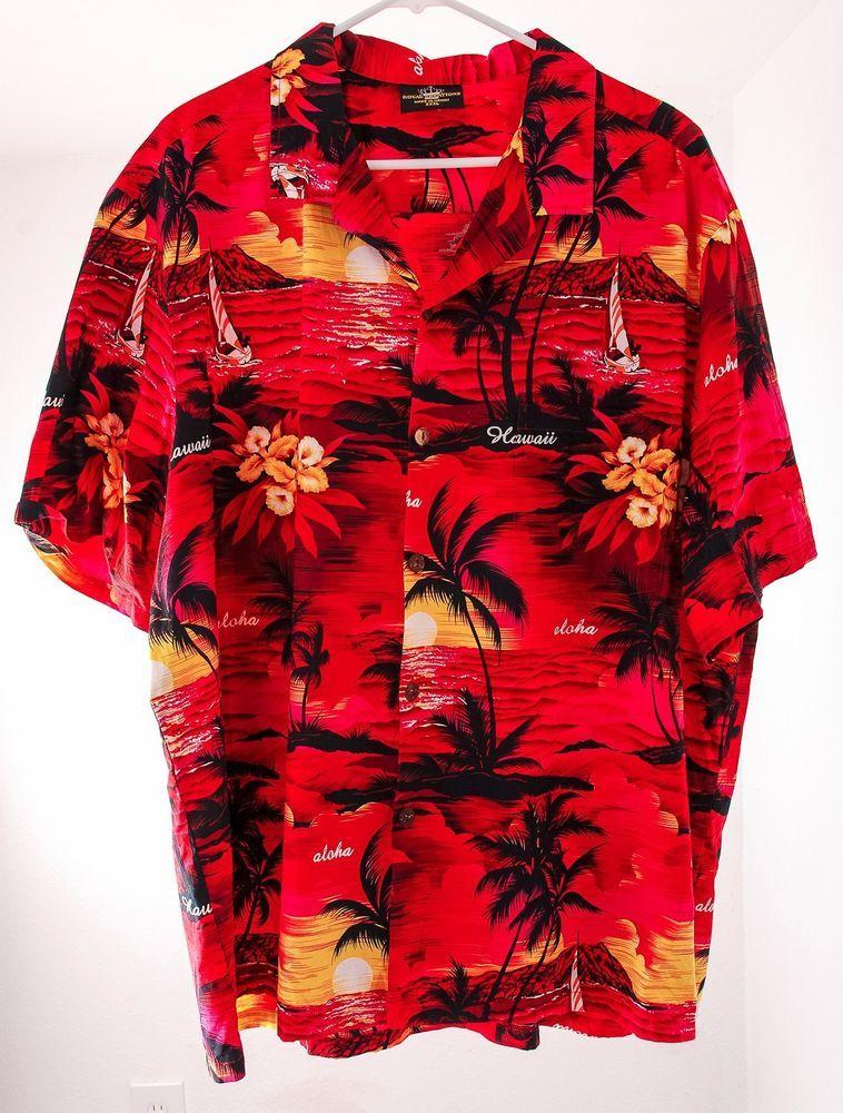 c29a544e Royal Creations #Hawaiian Shirt RED #Sunset #Coconut Buttons 3XL XXXL Short  Sleeve #RoyalCreations #Hawaiian