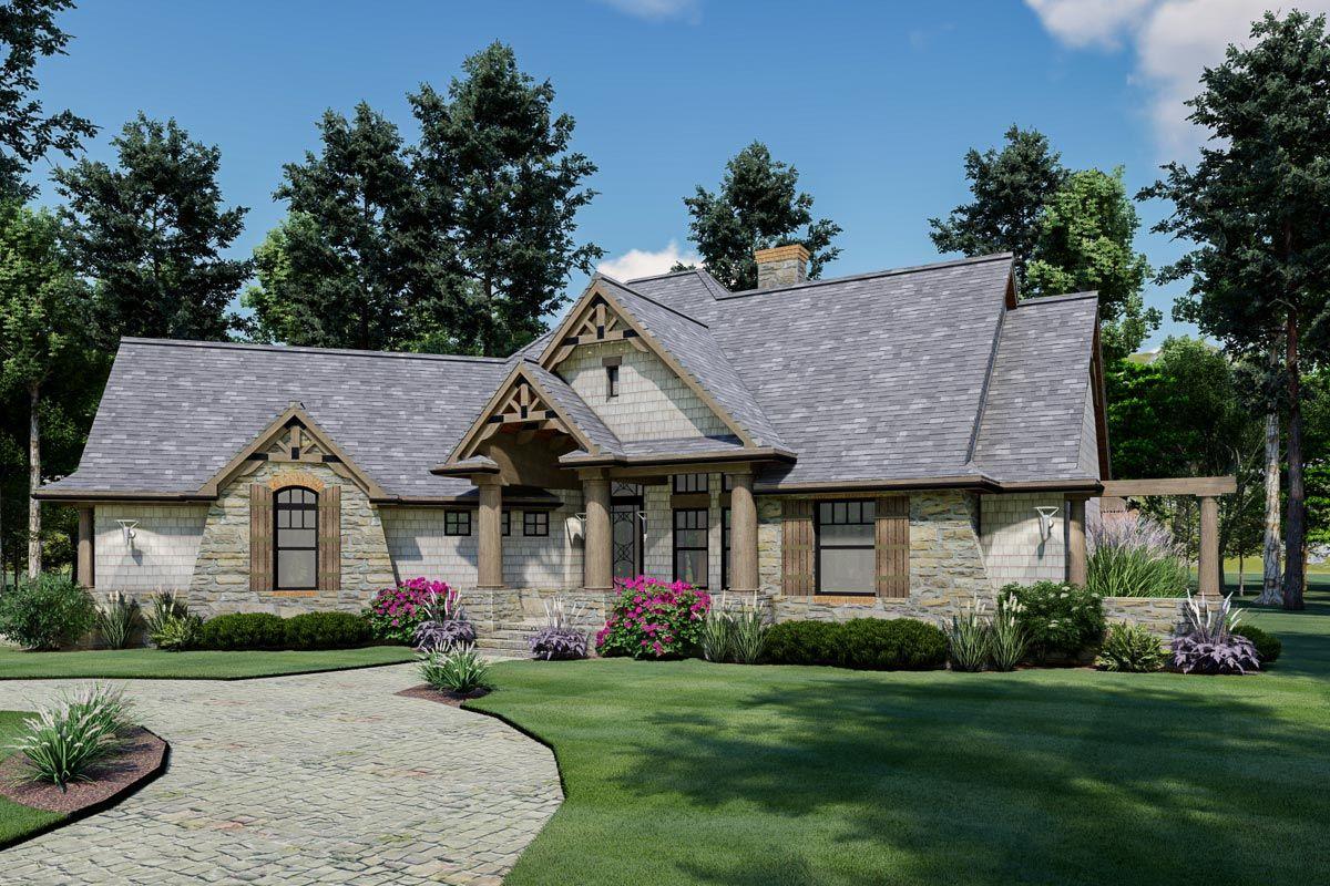 Shingle and stone Craftsman Home Plan with Angled 2 car Garage
