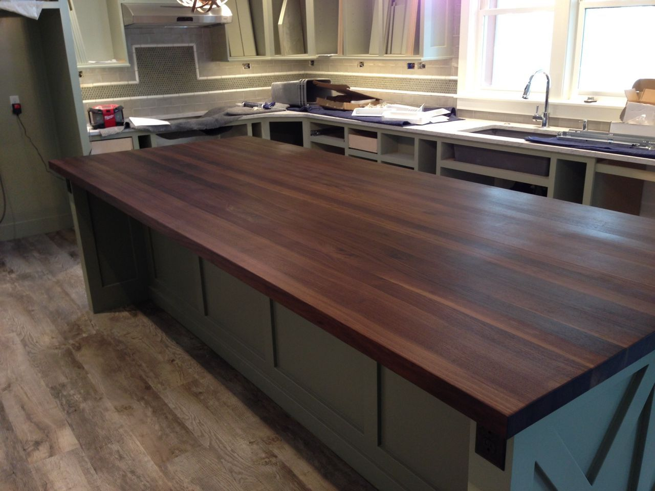 White Kitchen With Walnut Butcher Block Countertop : Custom-made walnut butcher block island top by #McClureTables #MadeInMichigan #MadeInAmerica ...