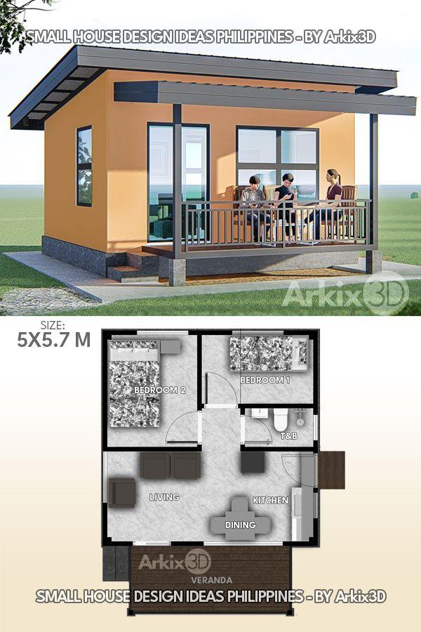 2 Bedrooms with Veranda Small House Design Ideas
