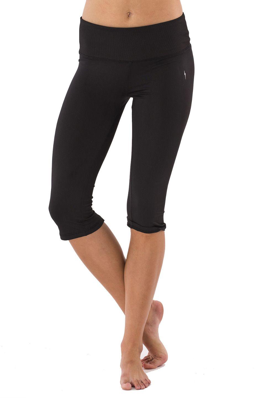 Electric yoga shiny capris in black yoga capris yoga