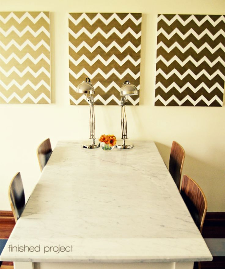 DIY: GOLD CHEVRON PAINTINGS Easy and super classy look. Create ...