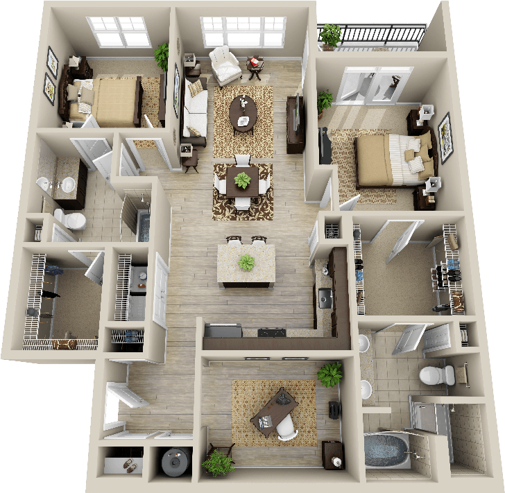 3d 2 bedroom apartment google search deco pinterest for House design plan 3d