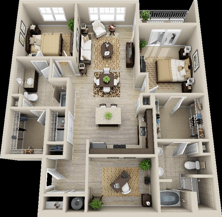3d 2 Bedroom Apartment Google Search Layout De Apartamento