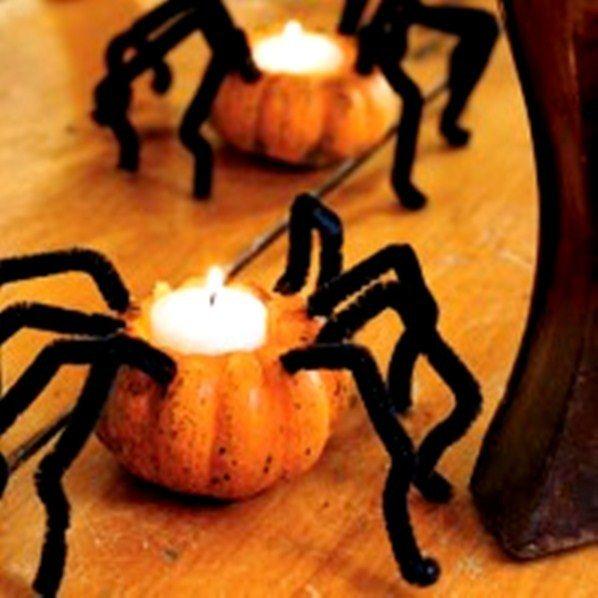 Mini Pumpkin Spider Tea Lights - Indoor and Outdoor Halloween - halloween decorations indoor ideas