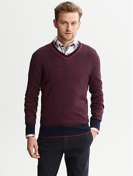 Micro Stripe V Neck Sweater Minus The Shirt Underneath He Would