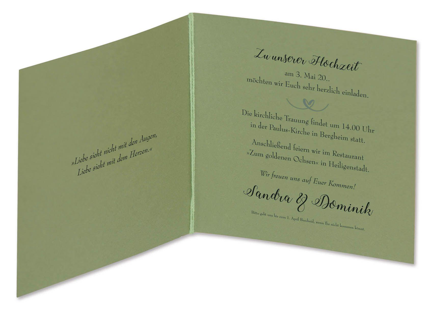 Hochzeitskarte Mit Gelaserten Namen Und Lindgrunem Herzanhanger