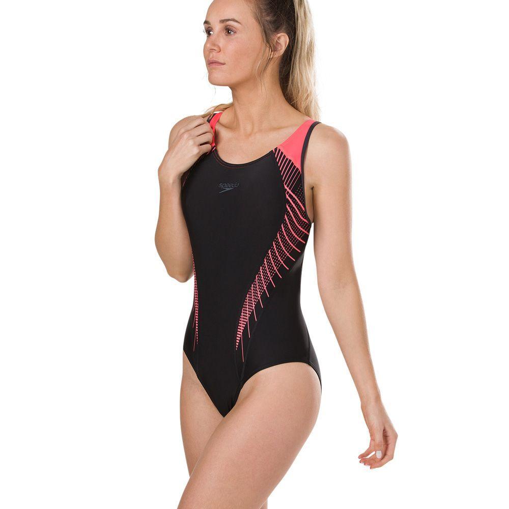 4e185c0127b Speedo Fit Laneback (8-11389c739) in Black/Red | Womens Swimsuits in ...