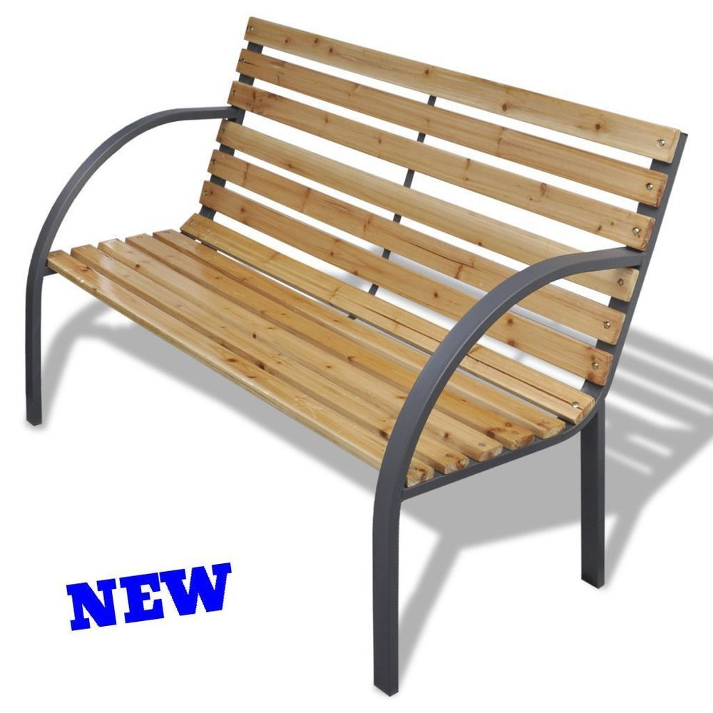 Enjoyable Outdoor Garden Bench Iron Wood Slats Backrest Patio Park Ocoug Best Dining Table And Chair Ideas Images Ocougorg