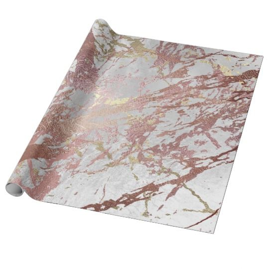 Silver Rose Abstract Gold Metallic Glass Strokes Wrapping