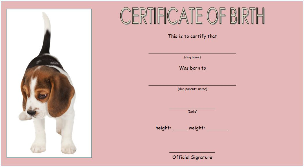puppy birth certificate free printable  2nd design  in 2020