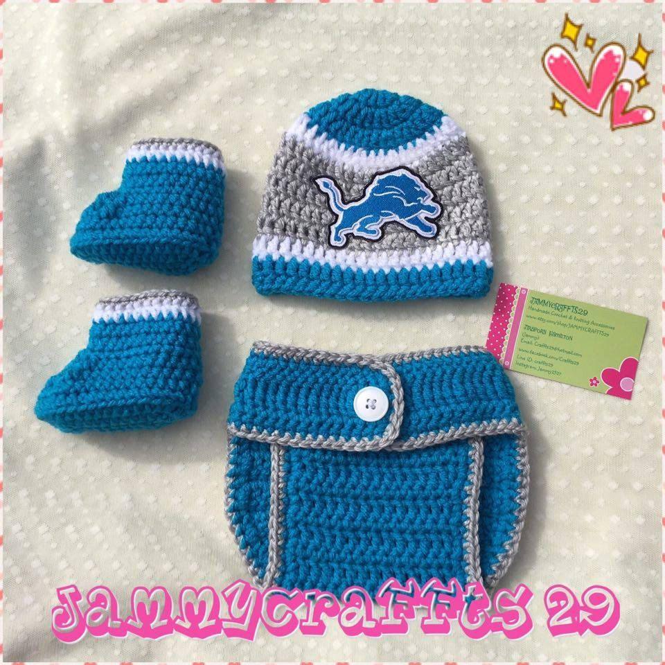 243b7329 Crochet Baby Detroit Lions Diaper Cover Set/Baby Football/Newborn ...