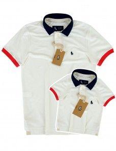 158ea74aa1c19 Kit Camisa Polo Tal Pai Tal Filho Gola e Punho Colorido (Marfim ...