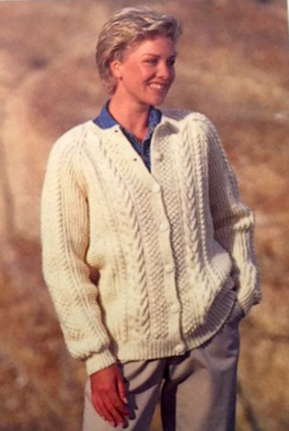 Sirdar Knitting Pattern Aran Fisherman Sweater Mens Womens ...