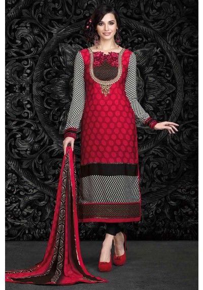 Amaranth #Red Crepe Embroidered #CasualChuridar Kameez Sku Code: 223-6155SL157479 US $31.00 http://www.sareez.com/catalog/product/view/id/75827/s/amaranth-red-crepe-embroidered-casual-churidar-kameez/category/27/   #FestivalWearChuridar