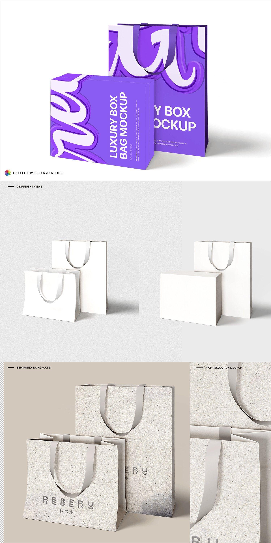 Download Luxury Box Bag Mockup Luxury Boxes Bag Mockup Box Bag