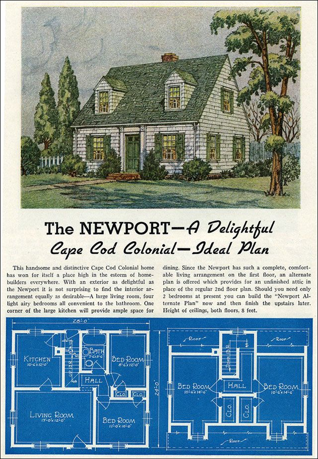 1939 lewis mfg new liberty homes newport mid for Cape code house plans