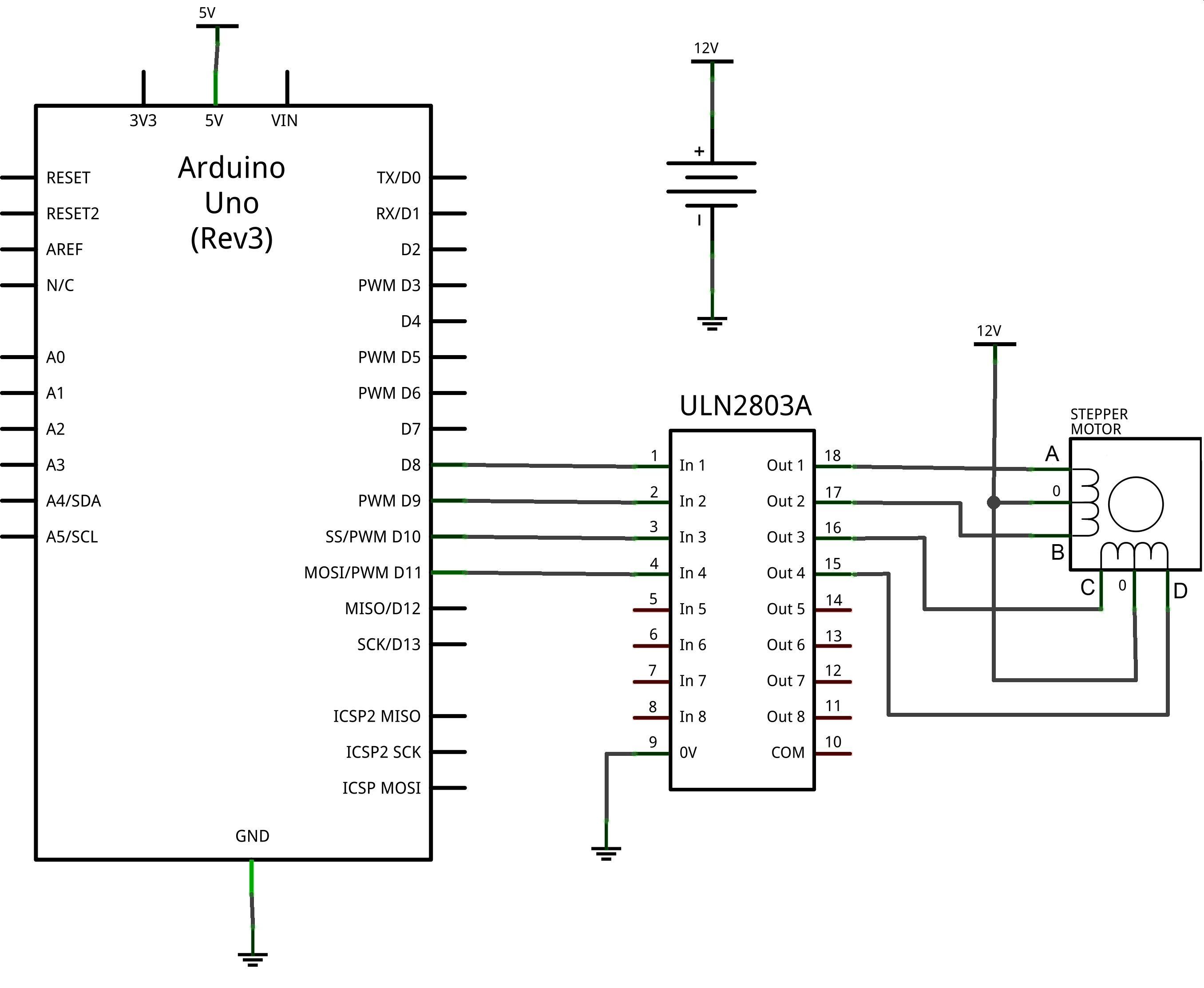 Mover motores paso a paso(unipolar) con Arduino y ULN2803A | DIYMakers