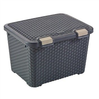 Coffre Rangement Anthracite Aspect Rotin L 49 X 40 X H 34 Cm Curver 28 Euros Truffaut With Images Storage Bins Lid Storage Storage Baskets