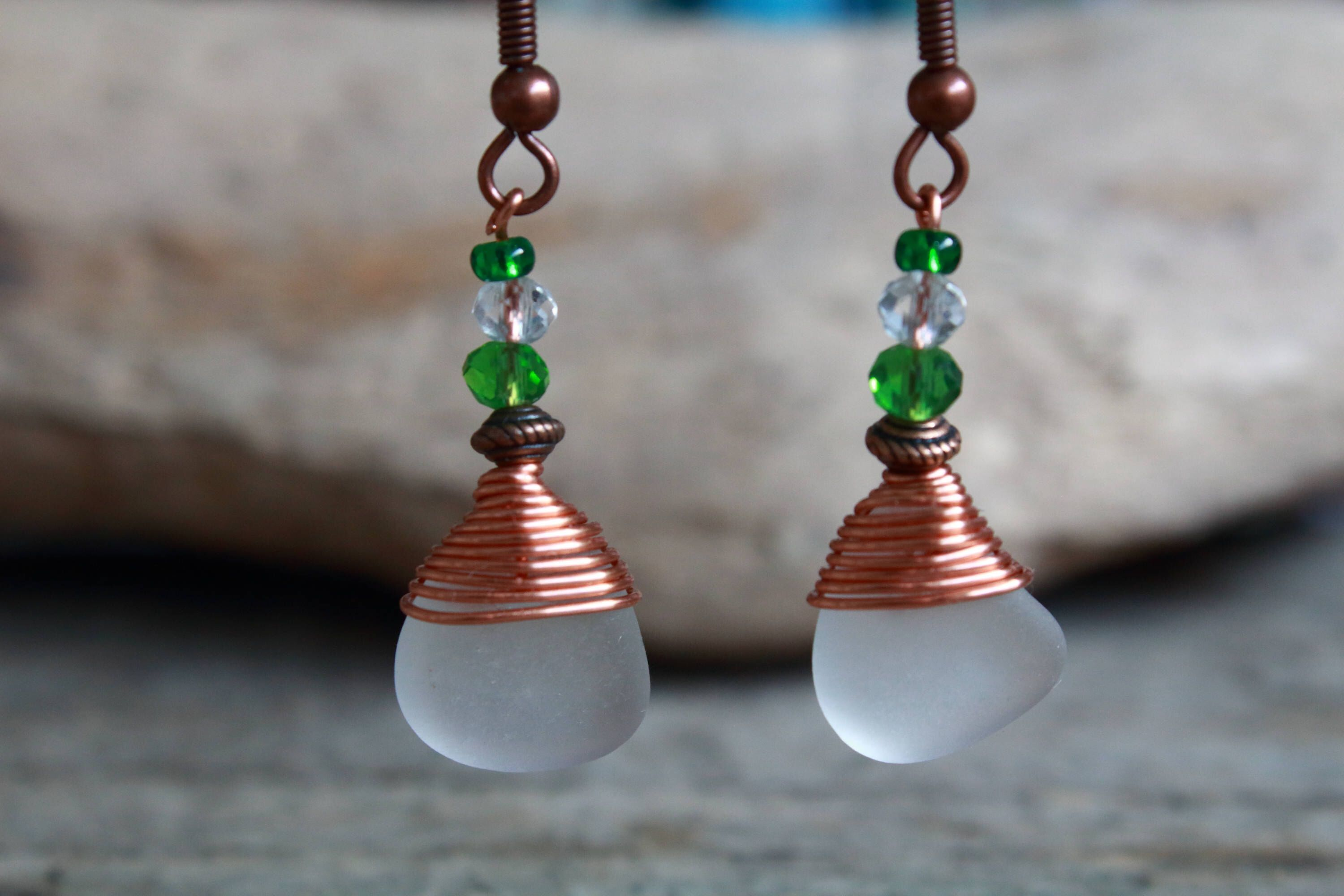 Irish Sea Glass Earrings, St Patricks Day, Beaded Drop Earrings, Sea Glass Jewelry, Sea Lover Gift, Irish Gifts, Boho Style Earrings, Ocean #irishsea Irish Sea Glass Earrings These delicate drop earrings are made from frosted white genuine Irish sea glass, complimented by sparkling glass beads and carefully wrapped in bare copper wire finished with antique style copper French hooks. The perfect unique boho chic accessory to carry a piece of the Irish Sea with you always! Fancy some different lad #irishsea
