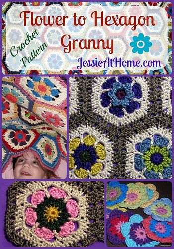 Flower Hexagon Granny How-To | Quadrate, Häkelideen und Square