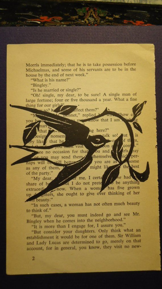Block Print Linocut Swallow Vintage Book Page by AlpineGypsy, $8.00