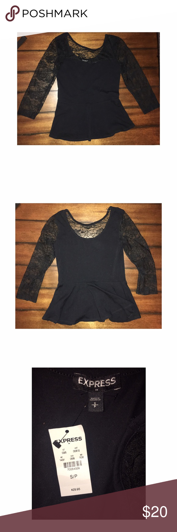Black t shirt express - Express Shirt Beautiful Black Never Worn Laced Sleeve Shirt Express Other