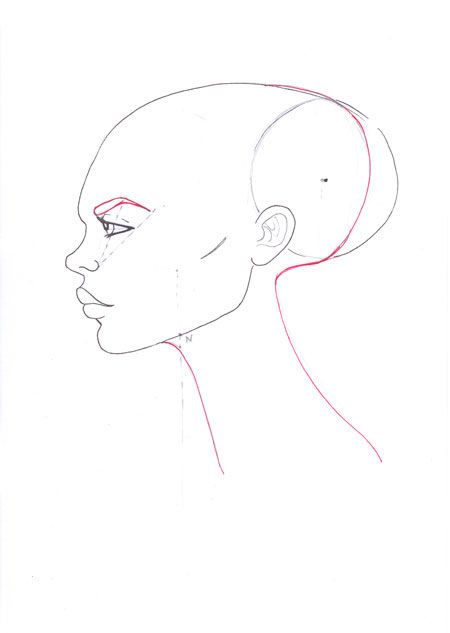 How to draw profile face step 12