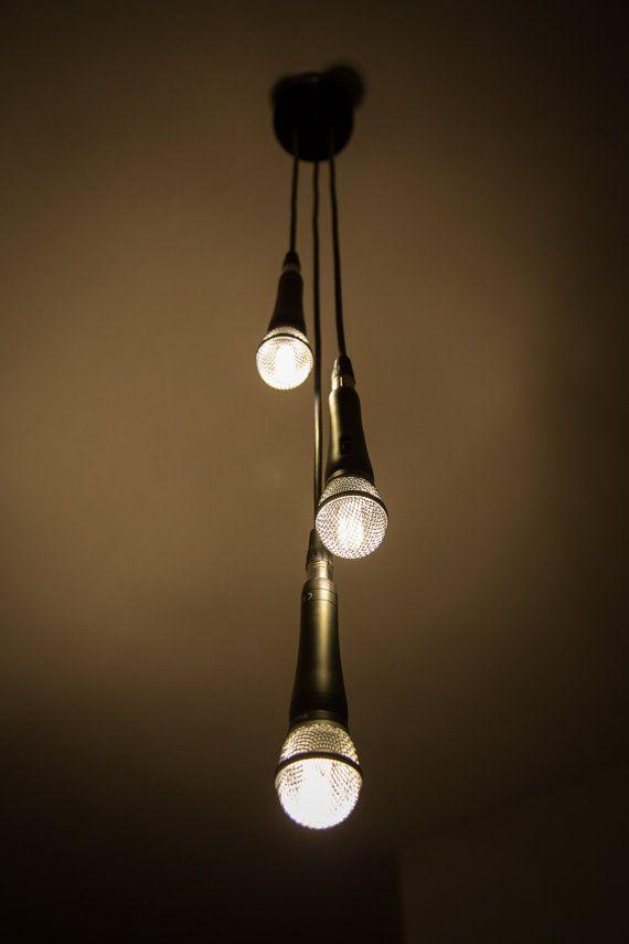 Triple Microphone Pendant Lamp Music Studio Decor Music Bedroom Music Studio Room