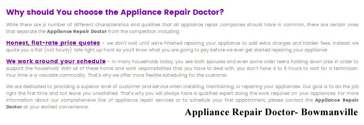Appliance Repair Doctor  King St E  Bowmanville On LC P
