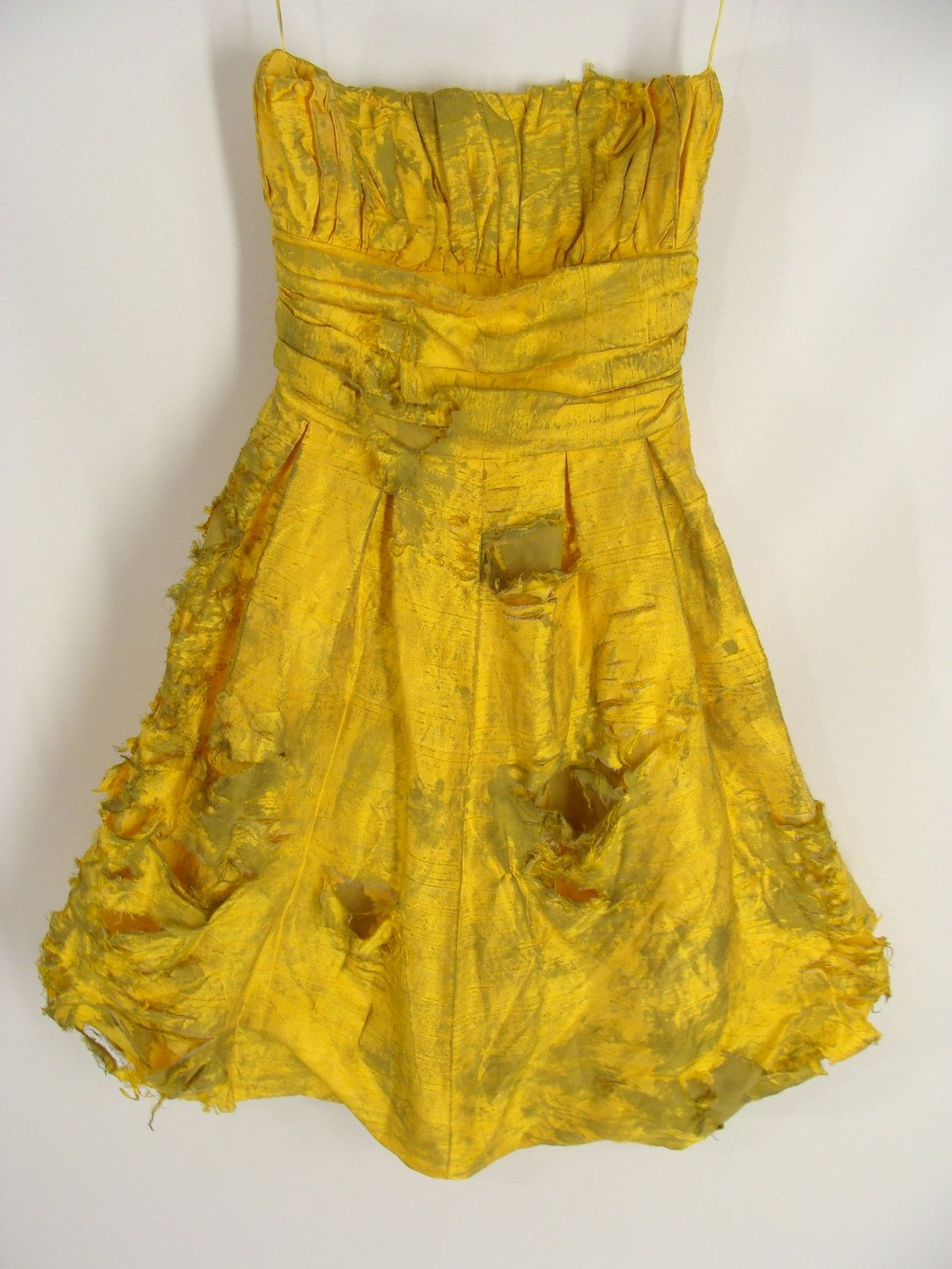 Forsale blood optional short yellow strapless zombie prom