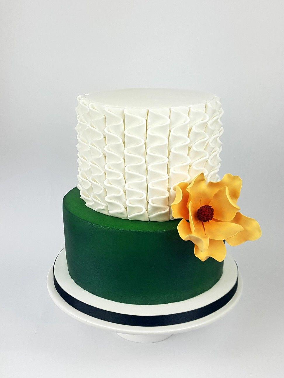 Astounding Womans Birthday Cake Ideas Pleated Fondant Green Cake Sugar Personalised Birthday Cards Epsylily Jamesorg