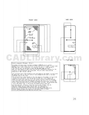 Handicapped Shower Stall 2D CAD Symbols Library CAD Library