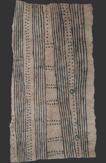 Africa   Mbuti pygmy bark cloth painting, Ituri rain forest, Congo    20th century