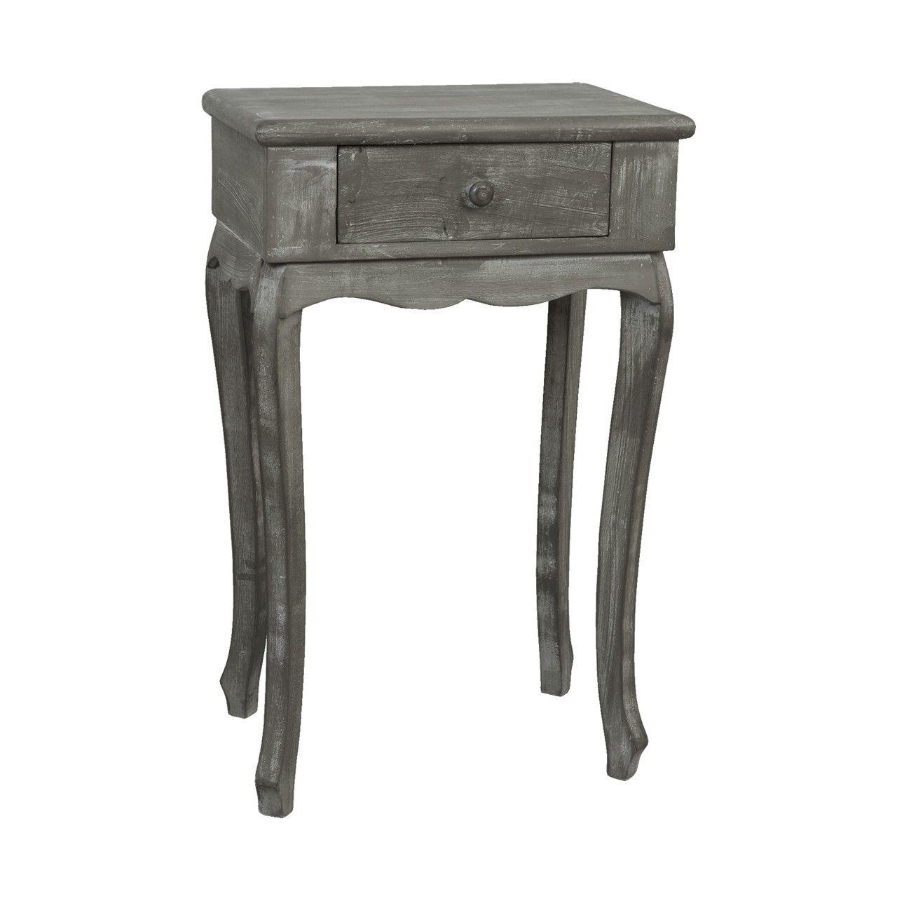 Mesa auxiliar alta con #estilo #clásico con un cajón en color #gris ...