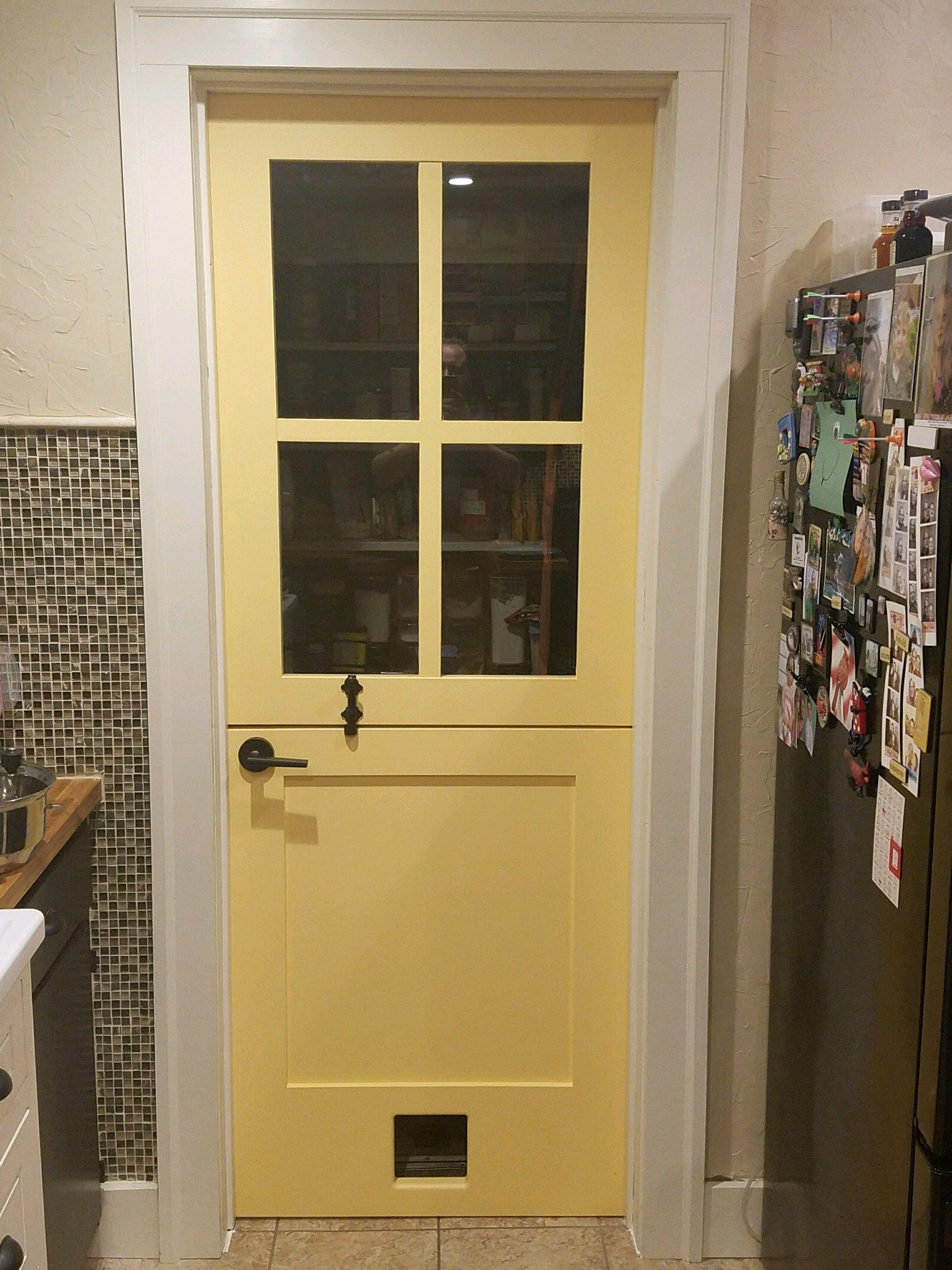 Custom Painted Poplar Dutch Door This Is A 1 3 8 X 32 X 80 4 Lite Over Panel Door Featuring A Cat Door In The Bo Custom Wood Doors Custom Paint Dutch Door