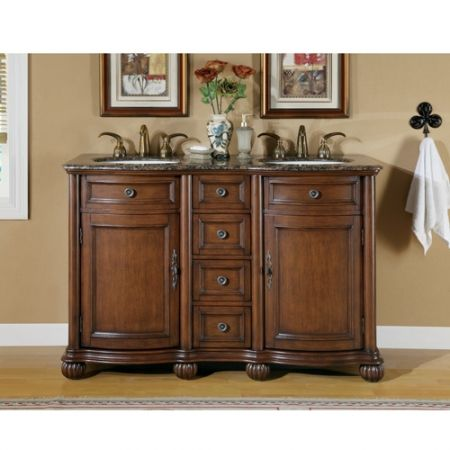 52 Inch Small Double Sink Vanity With Baltic Brown Countertop Small Double Sink Vanity Double Sink Vanity Kitchen Cabinets For Sale