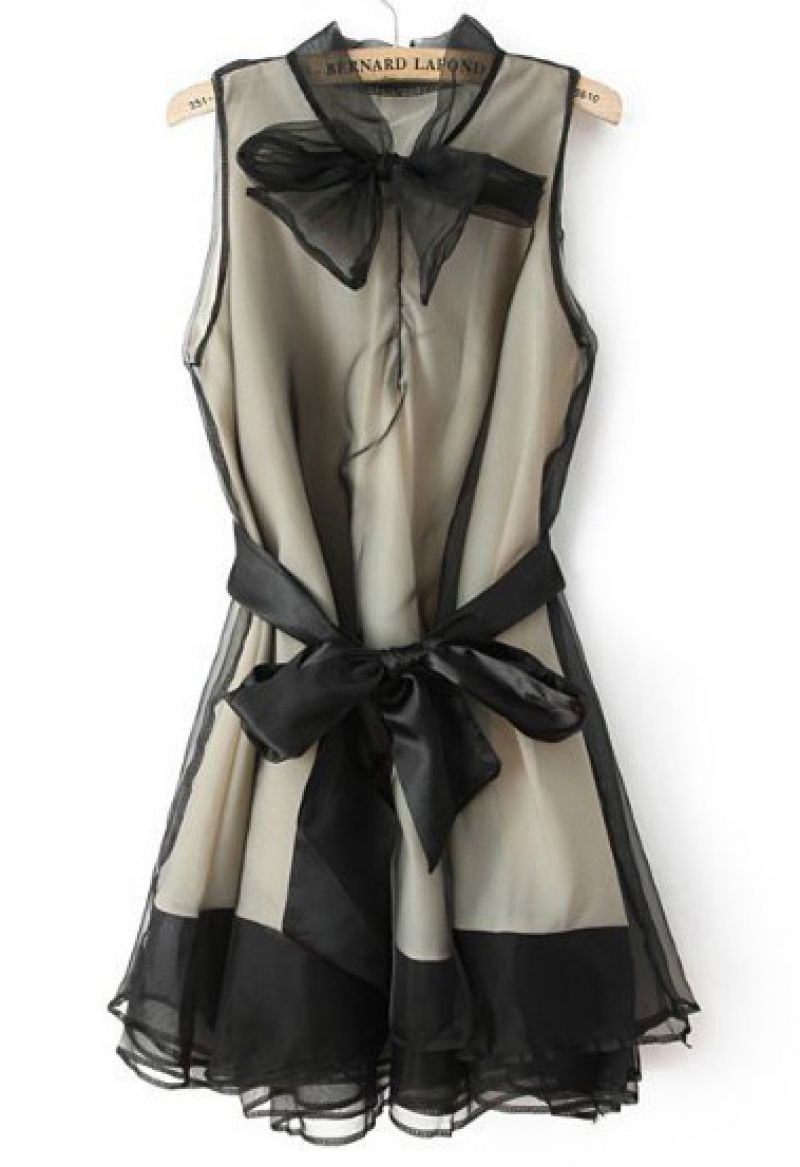 Buy Sheer Mesh Bow Black Dress from abaday.com, FREE shipping Worldwide - Fashion Clothing, Latest Street Fashion At Abaday.com