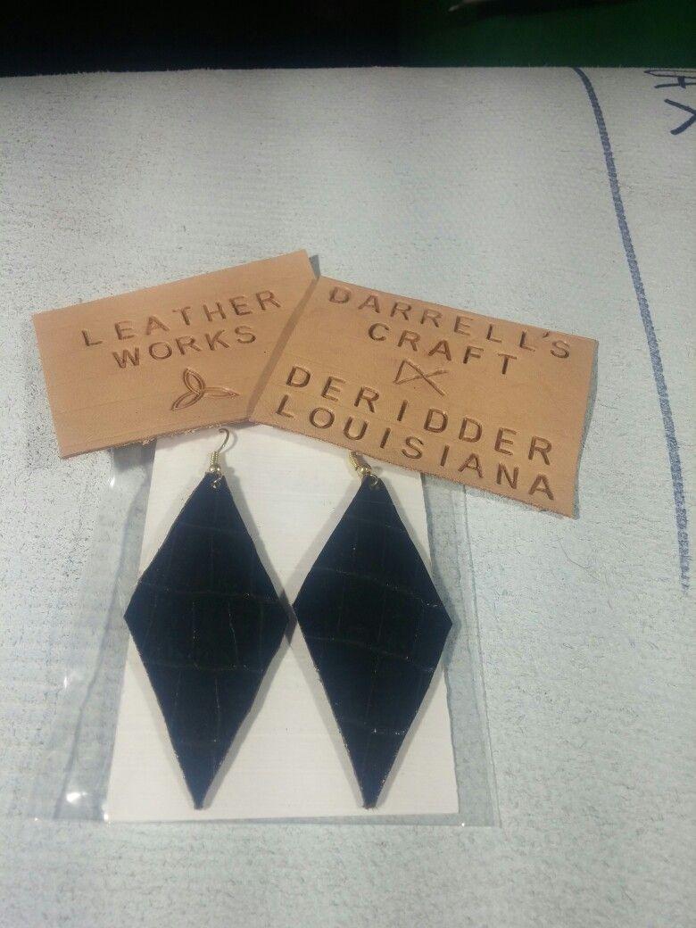 "Earring, genuine leather, triangle, black,  2"""