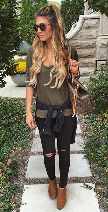 fancy black ripped jeans outfit winter 11