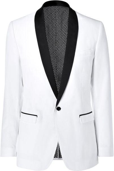 1c5dddc9b4a3 White and Black Velvet Tuxedo Blazer - Lyst