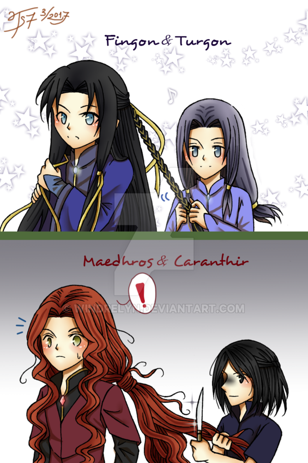 Brother's hair by Windrelyn on DeviantArt (Fingon and Turgon; Maedhros and Caranthir)